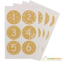 Adventskalender Sticker 24 Stück, Adventskalenderzahlen