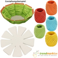 DIY Oster-Korb-Bastelset 10 Osternestchen + 5 Kordeln orange hellblau gelb grün rot